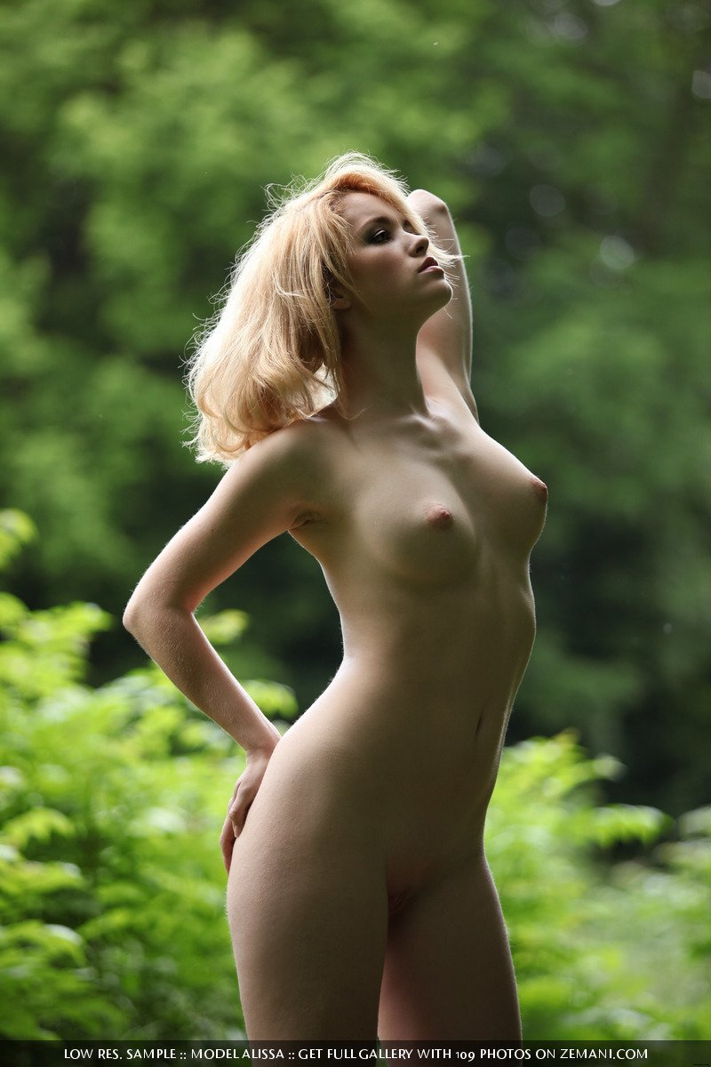 the girl in green naked forest Alissa